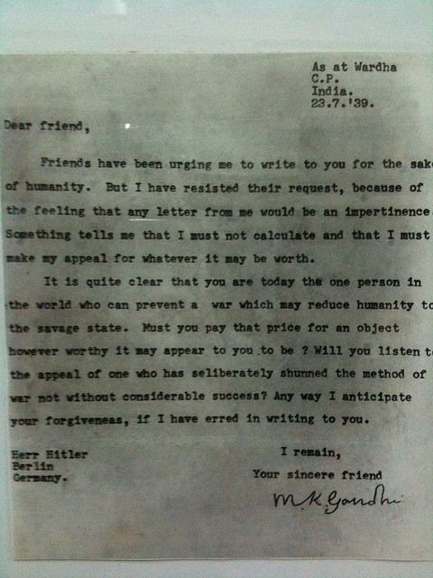 gandhi - hitler letter