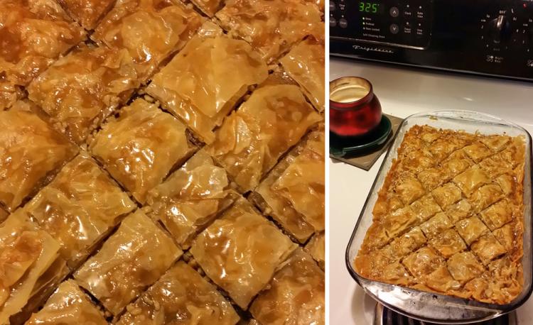 baklava - cooking